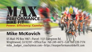 2018 Max Performance Bike Fit business card image