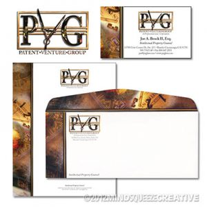 Patent Venture Group letterhead envelope, and business cards